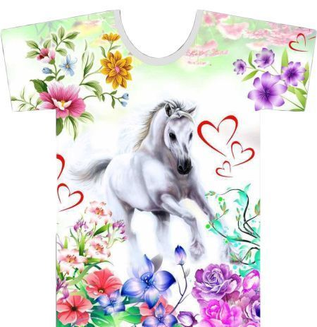 T-shirt Horse Flowers hearts