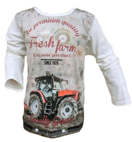Long sleeve Tractor Fresh Farm White
